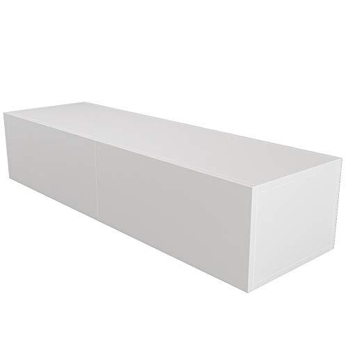 Zcyg Mobile porta TV, 140 cm, montaggio a parete, mobiletto per TV da soggiorno, camera da letto, mobilia per la casa (bianco)