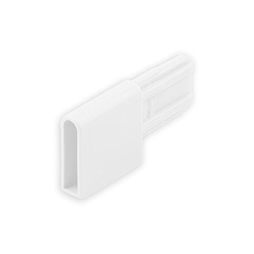 DIWARO® Endstabgleiter | Größe 28mm x 28,5mm x 9mm | Farbe braun, grau oder weiß | Material Kunststoff | für Endleiste, Endschiene, Winkelendschiene | Rolladenpanzer, Jalousie, Rollo (weiß)