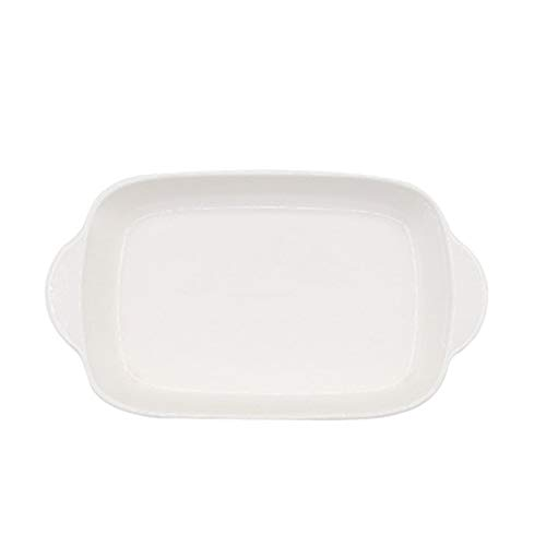 Kuinayouyi Plato de cerámica Binaural rectangular para queso horneado bandeja para hornear platos occidentales horno tazón alta temperatura 600C-blanco