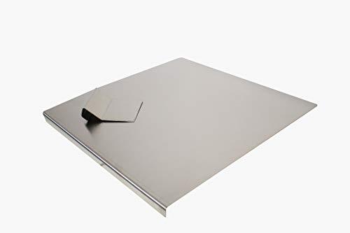 INOXLM Planche à découper, plan de travail avec pistolet/spatule en acier inoxydable, différentes tailles pour cuisine, bar, restaurant, (80 x 50 cm, plie, 2 cm)