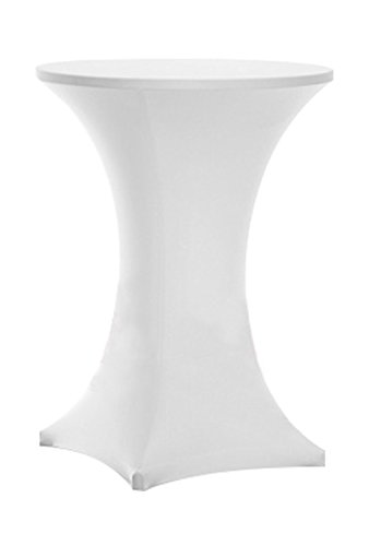 Awillhome Highboy Cocktail Fitted Spandex Stretch Table Cover Tablecloth,Bistro Table Cover,Poseur Tablecloth,Upright 4 Legs (30inx43in high, White)