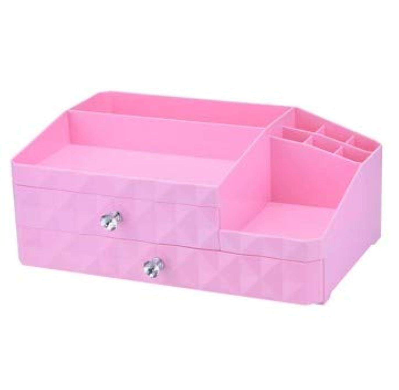 抽象幸運達成するデスクトップジュエリーボックス引き出し化粧品収納ボックス三層プラスチック仕上げボックス (Color : ピンク)