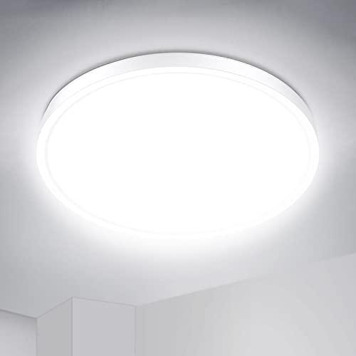 IAB Plafon Led Techo Redondo 24W, Lámpara Techo 2200LM Blanco UltraFino, 4 Capas Luce Protectora de los Ojos, Luz LED Techo 4500K IP44 para Baño Dormitorio Balcón Pasillo Comedor Cocina Habitación