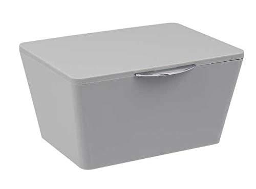WENKO Aufbewahrungsbox mit Deckel Brasil Grau Füllkörbchen Wäschebox Ablage spielzeugbox Badutensilien Aufbewahrungskorb