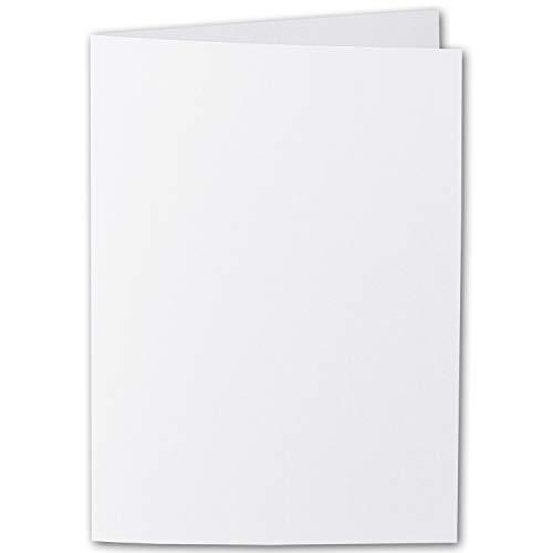 ARTOZ 25x DIN A6 Faltkarten - Blütenweiß (Weiß) - 105 x 148 mm Karten blanko zum selbstgestalten - 220 g/m² gerippt