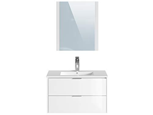Marchio Amazon -Movian Sauldre - Mobile lavabo con specchio e lavandino, 81 x 46,5 x 49 cm, colore bianco