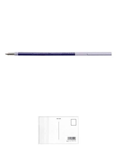 ぺんてる 油性ボールペン ビクーニャリフィル XBXS5-C 青 1箱(10本) + 画材屋ドットコム ポストカードA