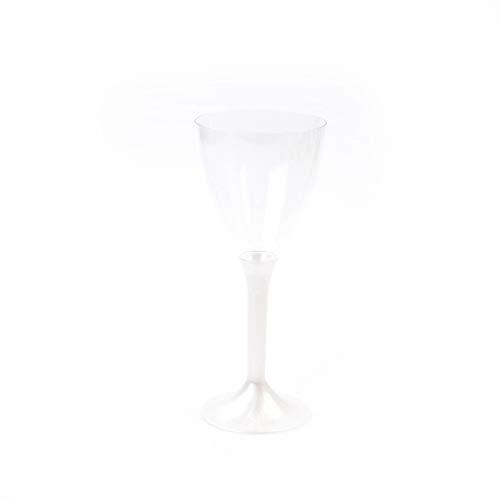 Verpakkingsinhoud Tableware | Wijn- en waterglazen met steel 180 ml parelmoer-wit | Drinkglas kelk roodwijnglas wegwerp | 6 stuks