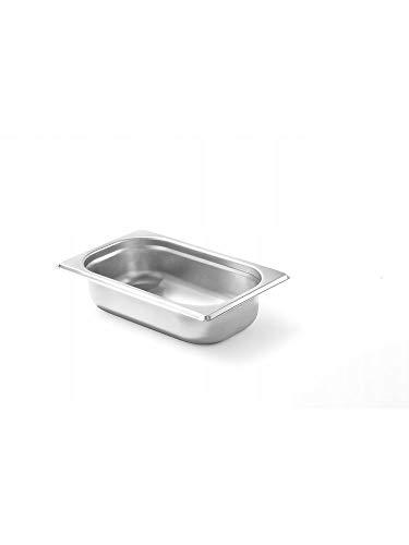 HENDI Gastronormbehälter, Temperaturbeständig von -40° bis 300°C, Heissluftöfen-Kühl- und Tiefkühlschränken-Chafing Dishes-Bain Marie, 1,8L, GN 1/4, 265x162x(H)65mm, Edelstahl