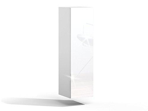 Platan Room Badezimmer Hängeschrank Wandschrank 105/ 160cm hoch Badhängeschrank mit Fronten in Hochglanz und Push-to-Open Funktion (Weiß Matt/Weiß Hochglanz, 105 x 30 x 32)