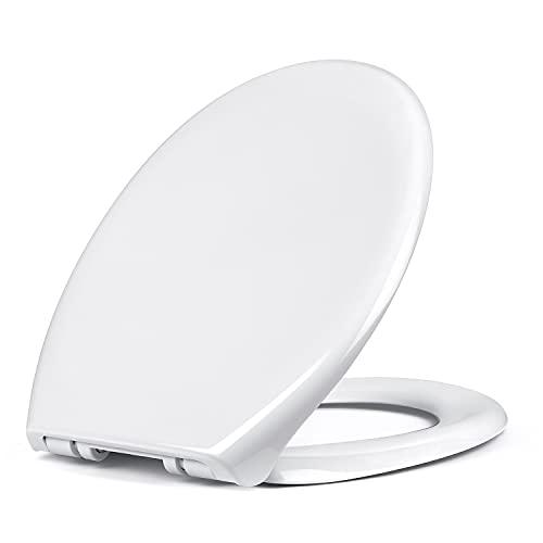 Tapa de WC, Asiento de inodoro de polipropileno en forma de O, Función de Cierre Suave y Silencioso, Fácil de Instalación y Limpieza, Fijación superior, Color blanco