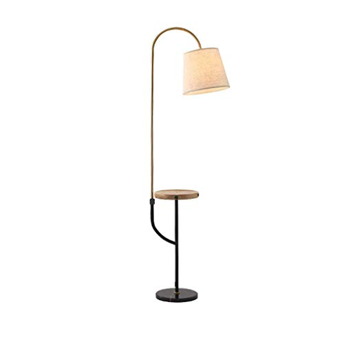 Multifunctional Floor Lamp with 2 USB Charging Port and Wireless Charging, Living Room Standing Lamp with Flexible Gooseneck, Bedside Reading Light, Wooden Tray, Marble Base, E27