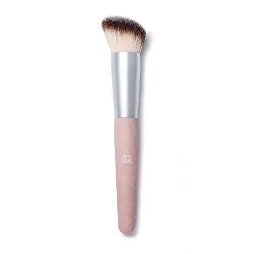 3ina Maquillaje vegano, sin crueldad, el cepillo todo en uno, polvo y crema cepillo de maquillaje facial, cerdas sintéticas suaves