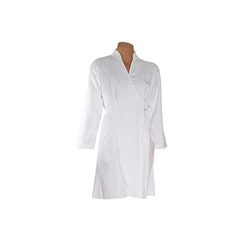 Benetton Bademantel Damen Kimono Glitter weiß - 001 L