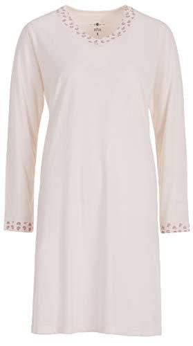 Zeitlos Nachthemd Damen Borte Herz Langarm Schlafshirt, Farbe:Off-White, Größe:L