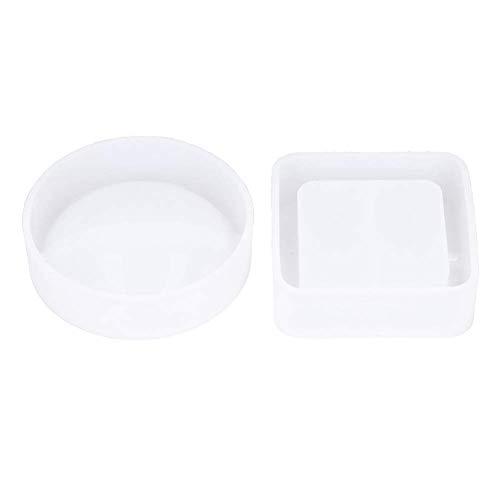 QTQZ Molde de Resina de Silicona, 2 Piezas, Cuadrado Transparente y Redondo, Molde de cenicero epoxi de Cristal con Superficie de Espejo Alto para Resina epoxi