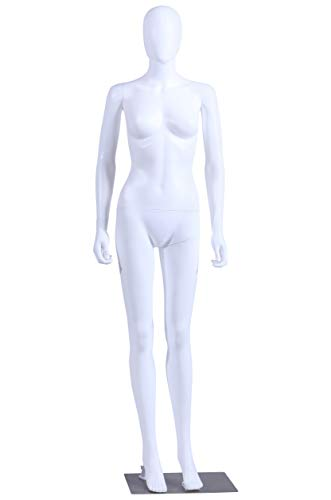 EurotonDisplay FC-7White, manichino bianco opaco astratto con piastra metallica egghead senza volto