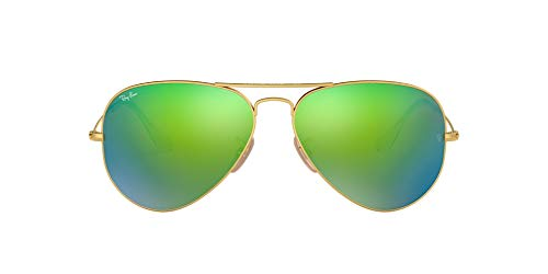 Ray-Ban RB3025 Classic Polarized Aviator Sunglasses, Matte Gold/Green...
