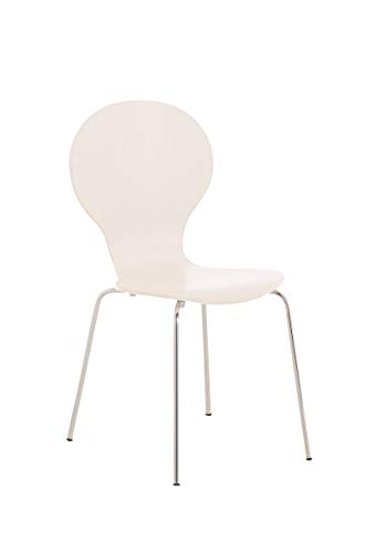 CLP Stapelstuhl Diego l Ergonomisch geformter Konferenzstuhl mit Holzsitz und Metallgestell I Stapelbarer Stuhl mit pflegeleichter Sitzfläche, Farbe:weiß