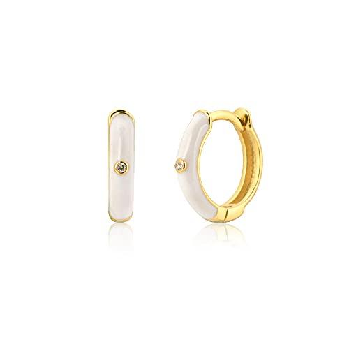 Plata 925 Plata-Blanco Turquesa Llantas esmaltadas 8 5mm Rueda Huggies Pendientes de perforación de lujo Joyería de moda para mujer-Blanco