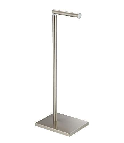 DECLUTTR Free Standing Toilet Paper Holder, Rustproof Stainless Steel Pedestal Lavatory Tissue Roll Holder Storage for 3 Rolls of Toilet Tissue, Brushed Nickel