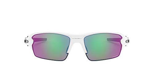 Oakley Men's OO9295 Flak 2.0 Rectangular Sunglasses, Polished White/Prizm Golf, 59 mm