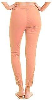 NAARI Peach Cotton Slim Fit Embroidered Cigarette Trousers for Women's