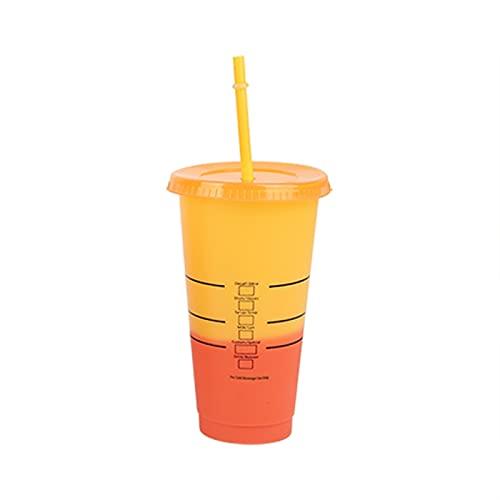 ZZLLFF 710ml / 700ml / 473ml Taza de Paja con Tapa con Logo Color Cambio Copa de café Tazas Reutilizables Tazas de plástico Taza de plástico Matte Taza de plástico (Color : Fuchsia)