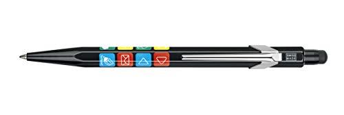 Caran d'Ache Genius Ballpoint Pen, Black Aluminum Body with 8 Classic Icons (849.202)