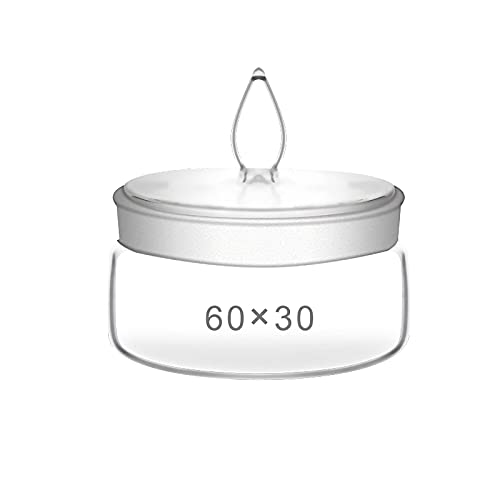 HCFSUK Botella de pesaje de Vidrio Plano, Recipiente de pesaje de Boca esmerilada con Tapa, Resistente a la corrosión, para líquidos/sólidos, Material Escolar, de Laboratorio, 2 Piezas, 80x40 mm
