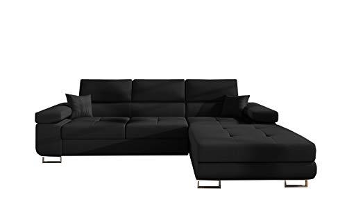 MOEBLO Sofá de esquina con función de sueño con canapé, sofá con forma de L, tapizado, sofá tapizado con otomana, granito de café - Alvaro