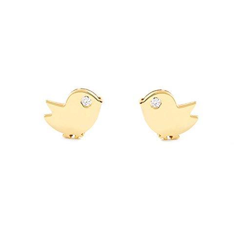 Dames & kinderen vogel oorbellen - geel goud 9 karaat (375)