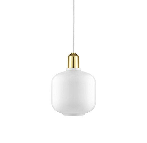 Normann Copenhagen Amp hanglamp, glas, wit/messing, 17 x 15 cm