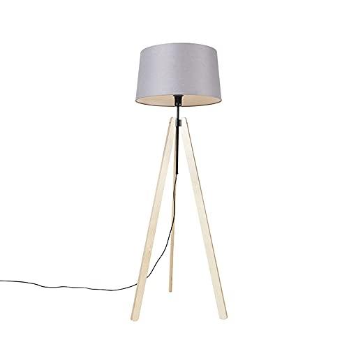 QAZQA Moderno Vloerlamp tripod beige met linnen kap donkergrijs 45 cm - Telu Madera/Lino/Textil Alargada Adecuado para LED Max. 1 x 40 Watt