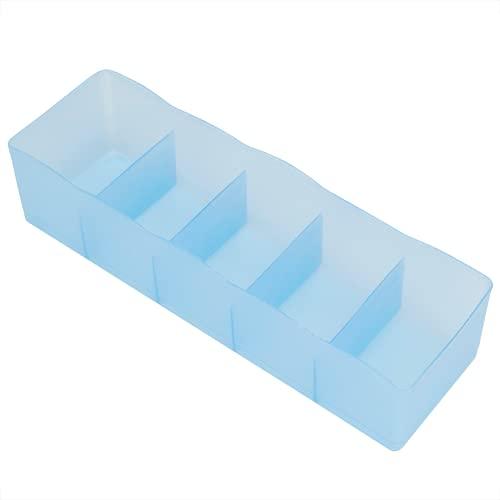 01 Organizador De Cajones, Cestas De Almacenamiento De Contenedores De Calcetines Plástico Duradero para Ropa Interior para Sujetador para Corbatas(Azul Transparente)