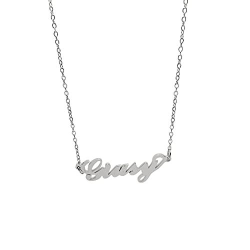 Collana Donna con Nome GIUSY in Acciaio in corsivo Elegante Girocollo Regolabile Anallergico Color Argento Confezione Regalo Inclusa
