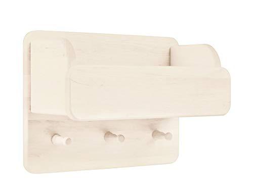 BioKinder 22178 Laura Wandgarderobe Kindergarderobe Garderobe mit Ordnungsfach aus Massivholz Kiefer 30 x 40 x 20 cm weiß lasiert