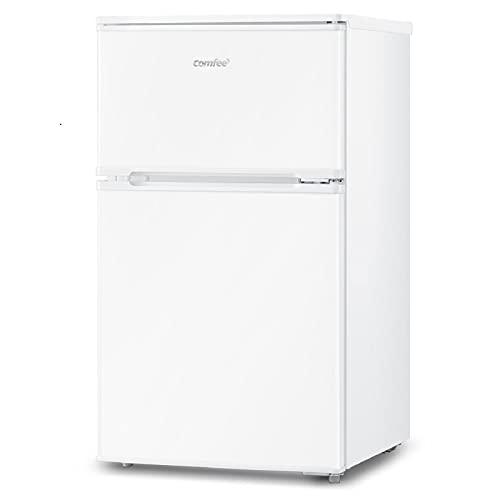 COMFEE' 冷蔵庫 小型 2ドア 90L 幅47cm 冷凍 ミニ冷蔵庫 右開き 耐熱天板 一人暮らし 家庭用 新生活 家電 オフィス 単身 おしゃれ ホワイトRCT90WH/E