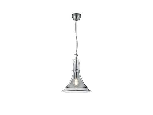 Effen LED hanglamp met kegelvormige rookglazen scherm, 32cm klein