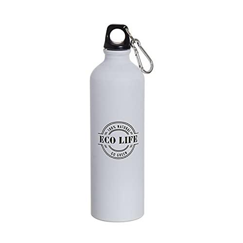 Botella de agua de aluminio para deporte ligero 100 gramos 750 ml, con tapa de seguridad y mosqueton, Libre de BPA, para gym, viaje, ciclista, camping (Blanco (Eco Life))