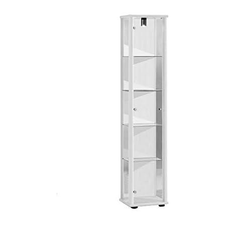 Vitrina Mueble de pared 176x37x33 cm en color blanco con iluminación con 4 estantes de vidrio