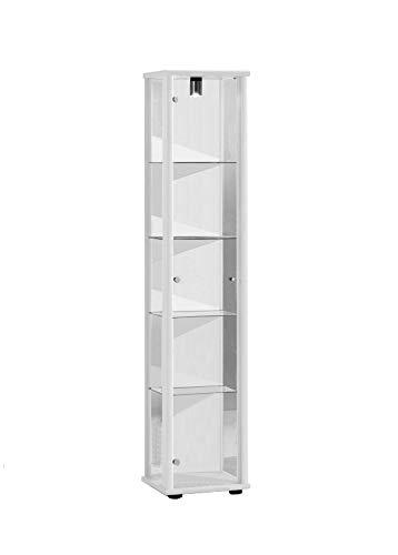 K-Möbel Glasvitrine in Weiss (176x37x33 cm) mit 4 höhenverstellbaren Glasböden aus ESG; beleuchtet; perfekt für Sammler;