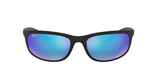 Ray-Ban Men's RB4265 Chromance Rectangular Sunglasses, Matte Black/Polarized Blue Flash Mirror, 62 mm