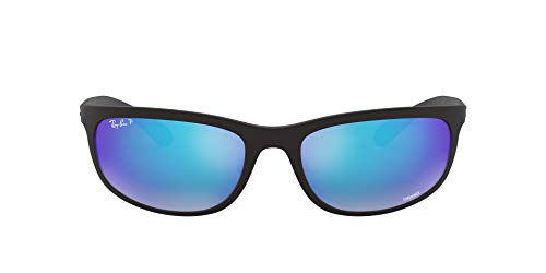 Ray-Ban Men's RB4265 Chromance Rectangular Sunglasses, Matte Black/Polarized Blue Flash Mirror, 62 mm