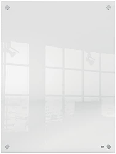 Nobo Pizarra Blanca de Pared, Borrado en Seco, Tablero de Notas Sin Marco, Oficina y Hogar, Incluye Rotulador, Transparente, 600 x 450 mm, 191561