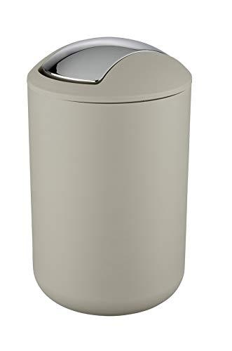 WENKO Schwingdeckeleimer Brasil Taupe L - Kosmetikeimer, absolut bruchsicher Fassungsvermögen: 6.5 l, Kunststoff (TPE), 19.5 x 31 x 19.5 cm, Taupe