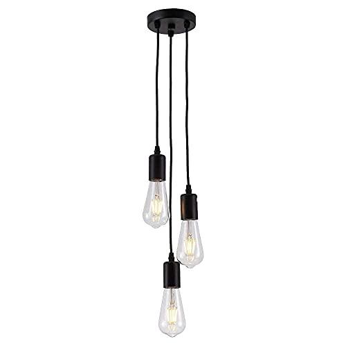 QLIGAH Vintage Negro E26 Edison Colgando araña, araña, lámparas y linternas industriales 3 lámparas y linternas, adecuadas para la Sala de Estar de la Isla de la Cocina del Bar