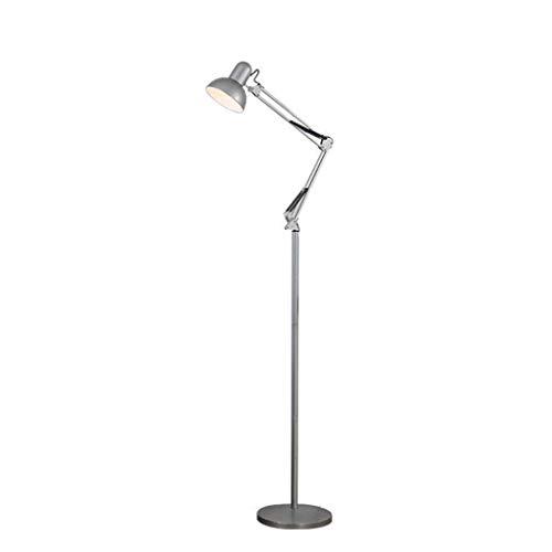 Jiji E27 Metall Stehlampe, Langarm Klapp Schlafzimmer Wohnzimmer Studie Vertikale Augenschutz Tischlampe Teleskop Stehlampe (Color : Silver)