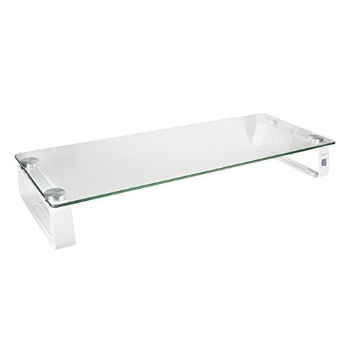 LogiLink BP0027 TV-Halterung Ständer Zubehör: Monitorerhöhung /-Tisch aus Glas (Dicke: 5mm), max. Belastung 20kg