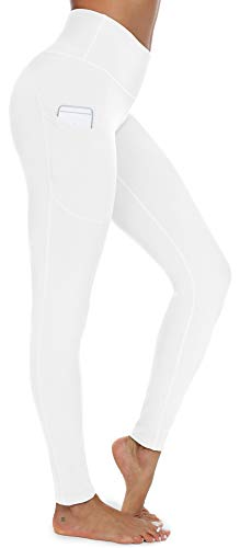 syoss Yoga Pants for Women with Pockets High Waisted Leggings with Pockets for Women Workout Leggings for Women XXL, White
